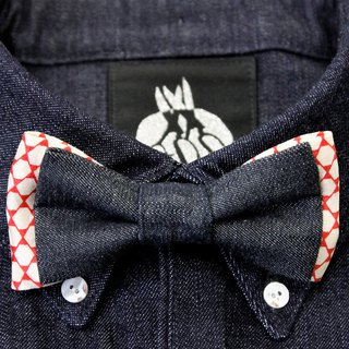Denim & silk kimono fabric remake double collar bowtie