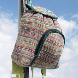 Christmas set limited to a natural hand-woven rainbow canvas bag / backpack / backpack / shoulder bag / travel bag - natural feel colorful green green tea