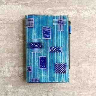 A6 leather insert notebook / book cover / hand book geometry stitching hand-dyed blue free transport