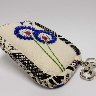 Dandelion Series - Embroidered purse - Beige / edge printing cloth