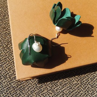 Italian Buttero green pearl earrings ear clip