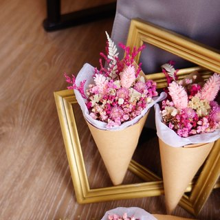 Elk Flower Amor Floral-Pink Bubble Cones Dried Bouquet / Wedding Small Probation room ceremony The second approach Bridal Valentine's Day Korean Bouquet Delighted guests props Drying flower birthday gift