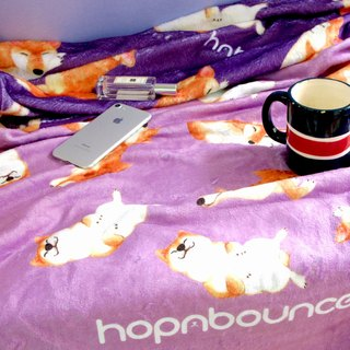 Shiba Inu Blanket/ Dog print double sided flannel throw blanket/baby shawl/animal cute sofa duvet in purple