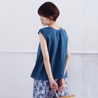 Marine blue linen top