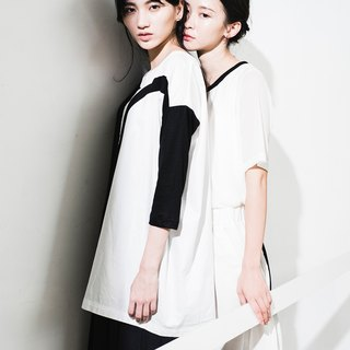 JUBY CHIU / black window frame white line cotton shirt
