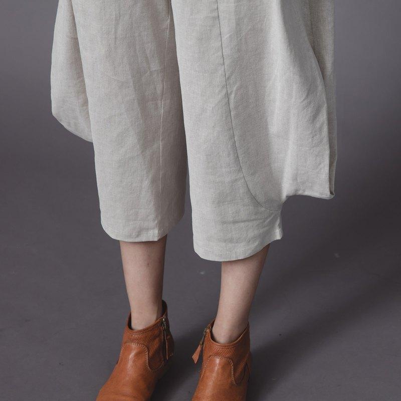 立體菱角寬褲 - 杏