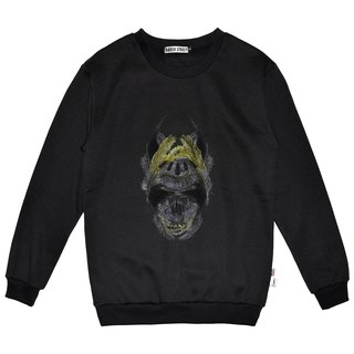 British Fashion Brand -Baker Street- Golden Feather Skull Printed Sweater