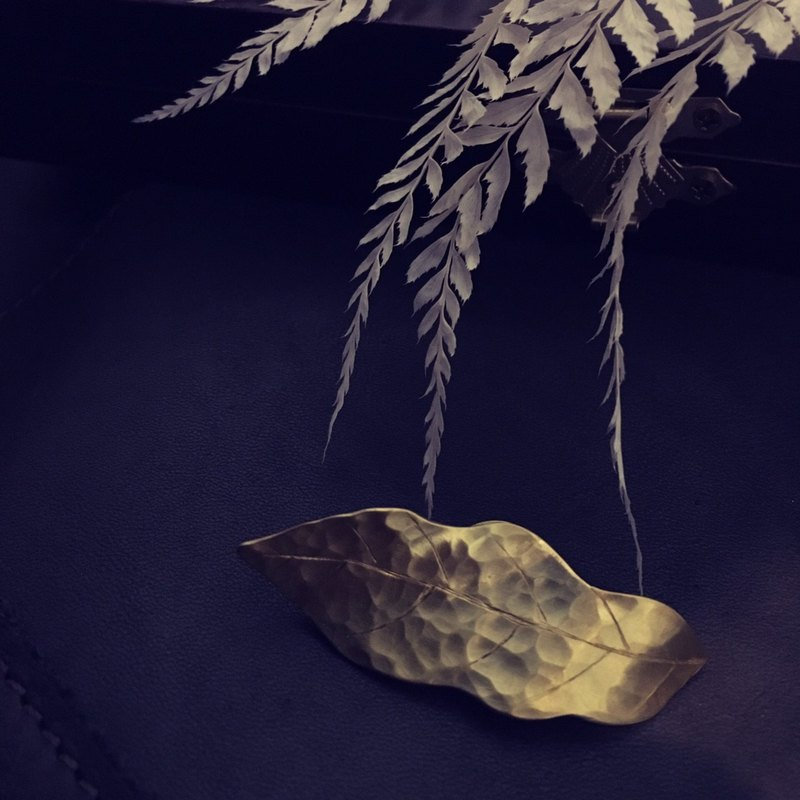 Simple Texture Series - Forged Knock Brass Leaf Needle / Brooch
