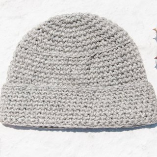 Hand-knitted pure wool cap / knit hat / knitted fur cap / inner brush hair hand-woven wool cap / wool cap - gray
