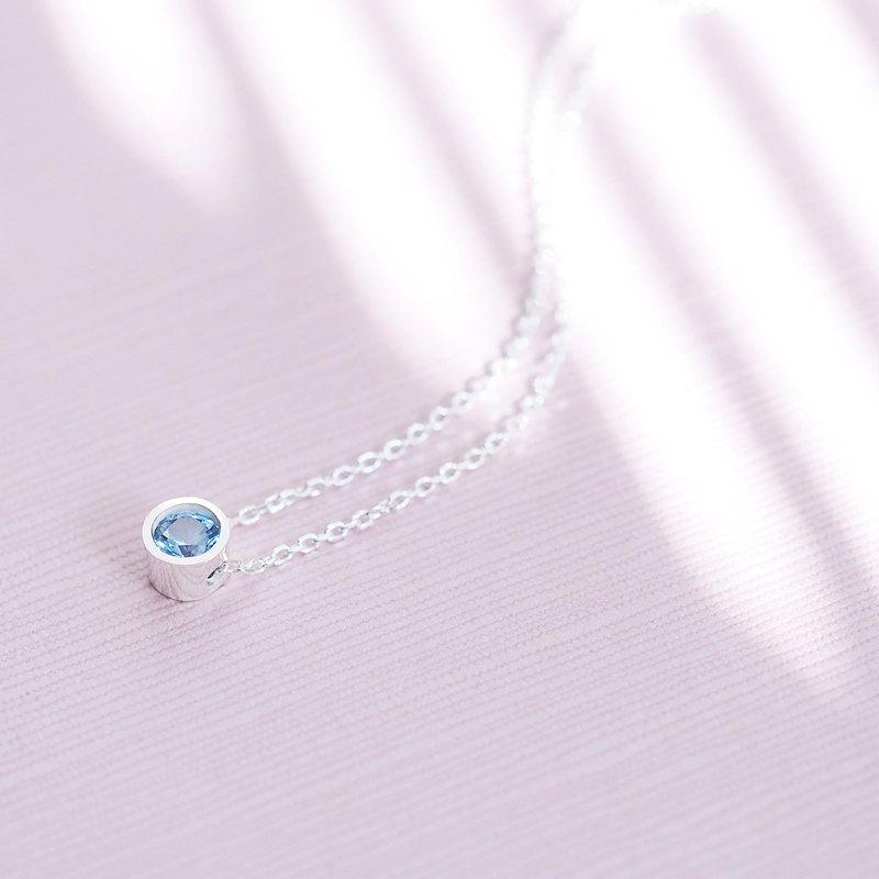 海藍寶石圓形項鍊925