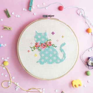Cross Stitch KIT - Kitten with Floral Wreaths