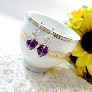 """Sunflower Sunflowers"" princess wind bright sunflower heart-shaped amethyst earrings"