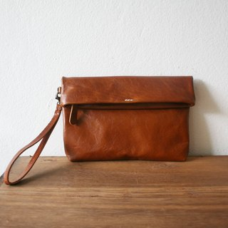 Folding Wristlet Clutch Bag / Brown Leather Purse.