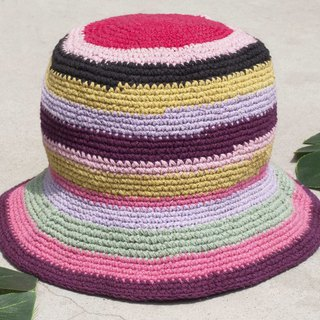Chinese Valentine's Day gift limited a piece of land forest stitching hand-woven cotton hat / fisherman hat / sun visor / patch hat / handmade hat / hand crocheted hat / hand-woven - ice cream macarons fruit striped cotton hat