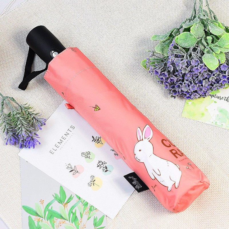 雙龍牌好奇兔降溫13度黑膠自動傘自動開收傘抗UV晴雨傘(櫻花粉)