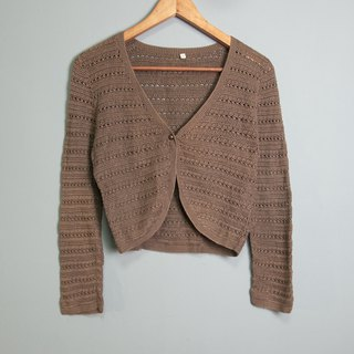 FOAK vintage vintage dark brown hollow crocheted crocheted jacket