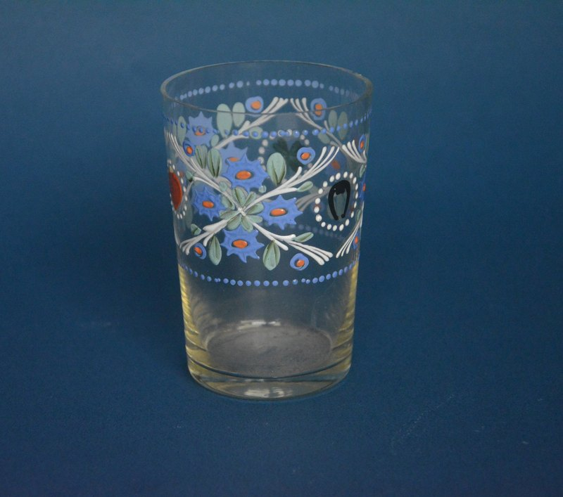 Early German handicrafts hand-painted transparent glass