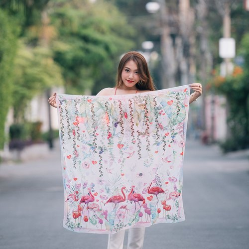 Love birds - Romantic Flamingo Scarf in Pastel colour