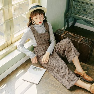 2018 autumn women's new solid color collar sweater plaid strap wide-leg pants