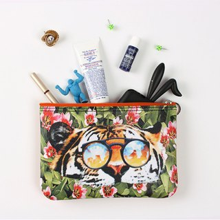 STILL AND CHEW Pouch Pouch - TIGER OVER FLOWER