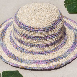 Hand-knitted cotton and linen cap knit hat fisherman hat sun hat straw hat - French gradient rainbow forest