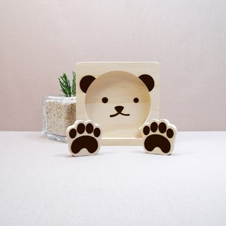 Personality bear baby mobile phone coaster bear paws headphone set line clip card holder magnet holder birthday gift custom-made name