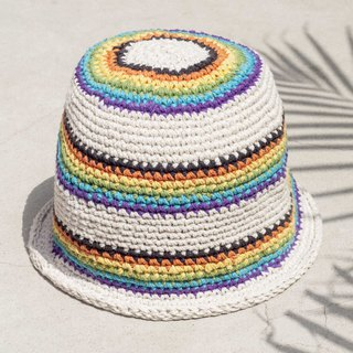 Chinese Valentine's Day gift limited to a South American style stitching hand-woven cotton hat / fisherman hat / sun visor / patch hat / handmade hat / hand crocheted hat / hand-woven - ice cream rainbow forest summer crocheted striped cotton hat