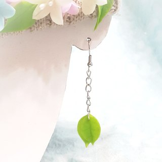 Swaying green leaves long earrings / ear hooks / ear clip