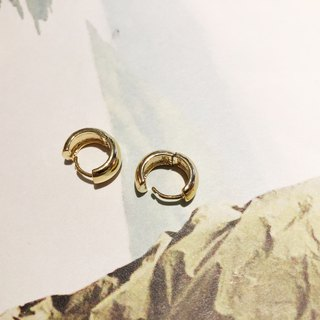 Basic small buckle - gold earrings earrings (pair)