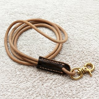 Primary color leather lanyard leather label can be selected color