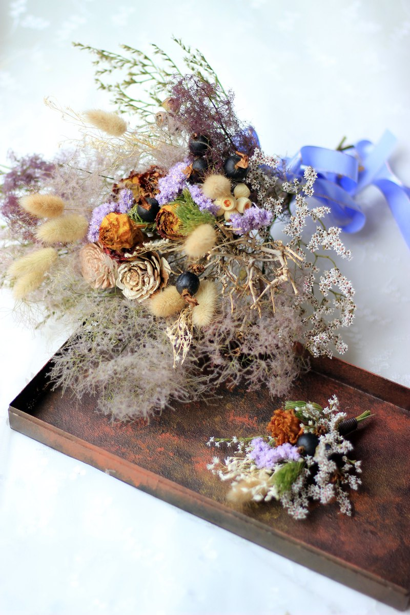 Xianqi Elf Smoke Tree Dry Bouquet Corsage Group