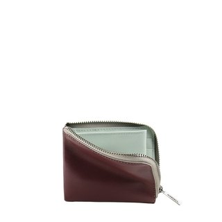 HANDOS color leather short clip - burgundy x Mint