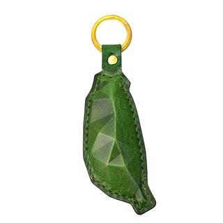 PIPILALA Leather Design Solid Leather Key Ring - Guardian Taiwan (Forest Green)