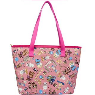 Videos jacquard woven large tote bag Happy Circus (Pink) Pink