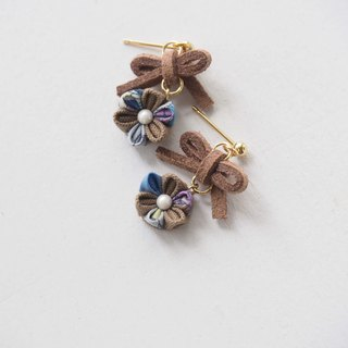 Cute Brown bow and Flower Drop Earrings Clip-on 14KGF, S925 custom