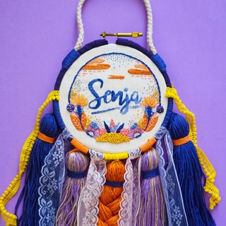 'Solveig'Hand embroidered wall decor