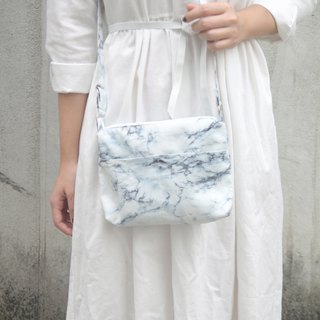 Snow white marble hand-stitched lightweight side bag