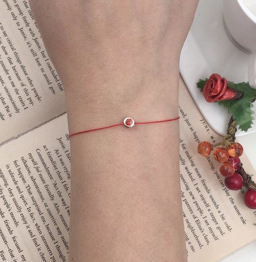 *Le Bonheur Line Happiness Line*Silver Rhinestone / Red Bracelet in Sterling Silver red line Solitaire Engagement Ring Margin Strap Single