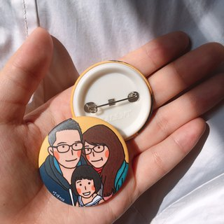 Customized portrait 44mm badge