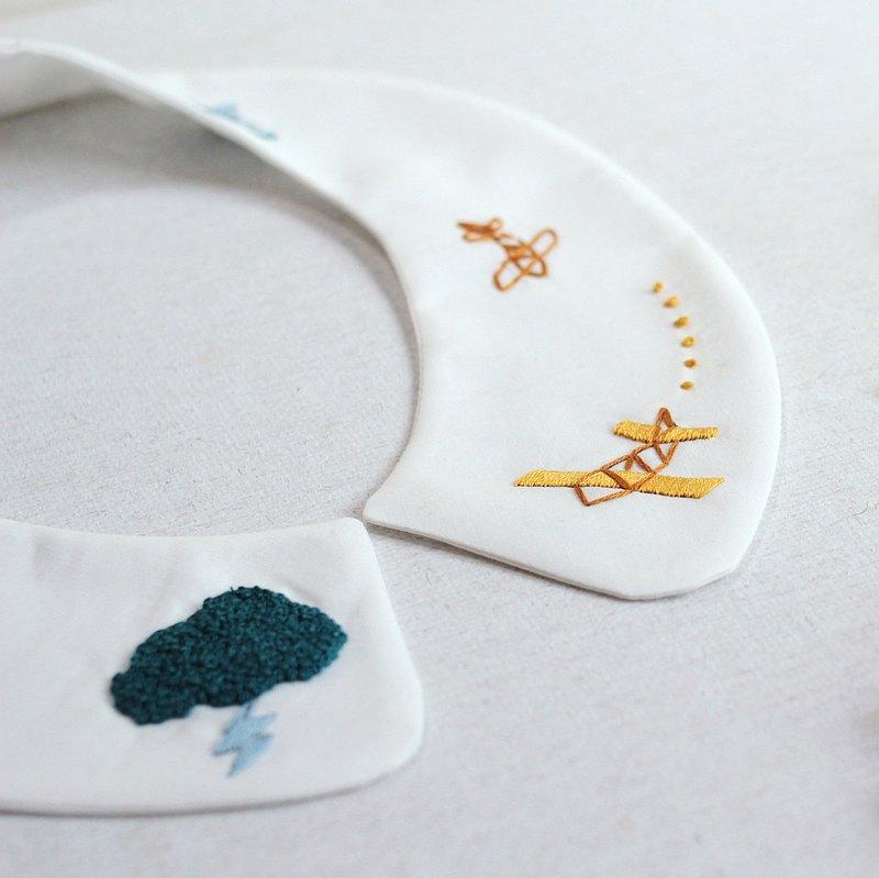【線上】大人的刺繡領片材料組-造飛機 含材料包 影片 含運