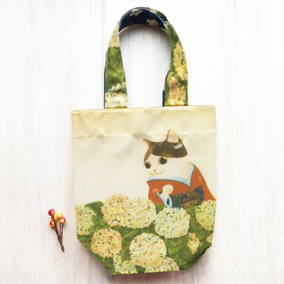 Cat Ukiyo-painting - Hydrangea / double-sided environmentally friendly beverage bag / umbrella bag / universal bag