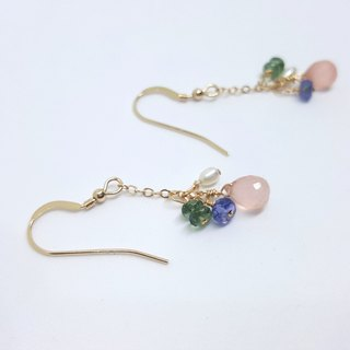 Girls Crystal World - [Spring] - Pink chalcedony earrings Handmade natural crystal hanging earrings