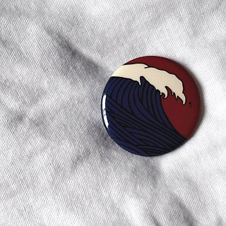 Red and blue sea wave badge / badge / pin / brooch