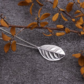 Sweet Osmanthus Leaf Silver Necklace - Nature Plant