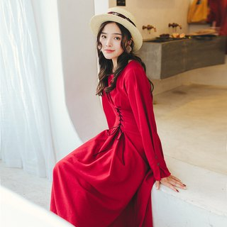 2018 autumn and winter women's new products contrast color ribbon round neck dress dress