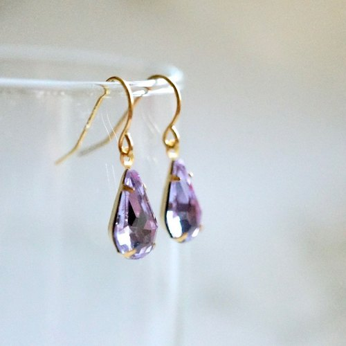 ITS-296 [Brass ear hook series] brass X retro drip glass ear hook ear clip purple