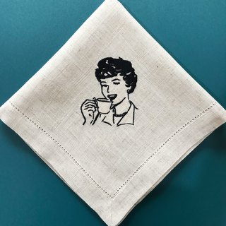 Coffe Woman Custom Made Embroidery Napkins