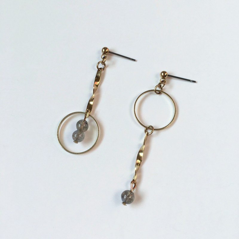 Brilliant ◆ Pluto Natural Drawn Stone Round Flange Irregular Brass Earrings Ear Earrings