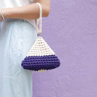 Duo Color Triangle Handbag, crochet, knit, handmade (Indigo / Beige)