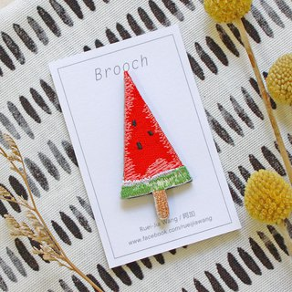 Watermelon popsicle embroidery pin